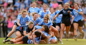 Dublin celebrate beating Cork  in the TG4 All-Ireland Ladies senior football championship final at Croke Park. Photograph: Dara Mac Donaill/The Irish Times