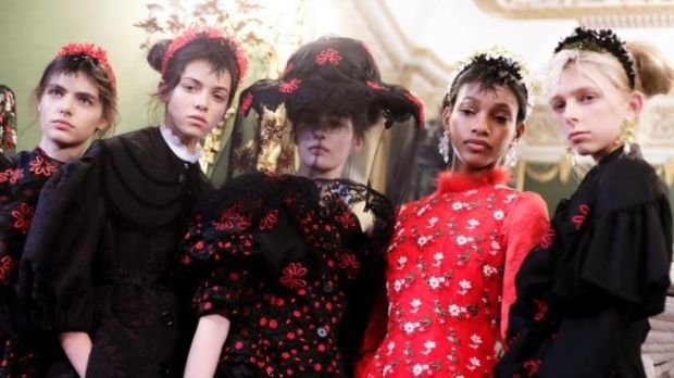 Models at Simone Rocha's catwalk show for London Fashion Week.