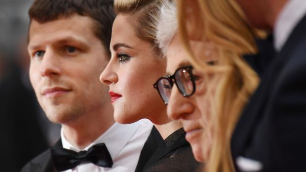 "Jesse Eisenberg: ""He's changed my life more than any other creative inspiration,"" the actor says of Woody Allen (right, with Eisenberg and Kristen Stewart in Cannes with their film Cafe Society. Photograph: Anne-Christine Poujoulat/AFP/Getty"