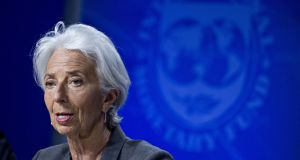 Christine Lagarde, managing director of the International Monetary Fund (IMF), speaks during a news conference.