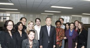 Grace Barret (fourth from left) with her team at UN Video in New York. Former UN Secretary-General Ban Ki-moon (in centre).