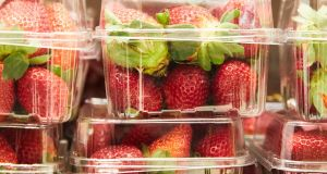 Strawberry punnets are seen at a supermarket in Sydney, New South Wales, Australia. Photograph: EPA