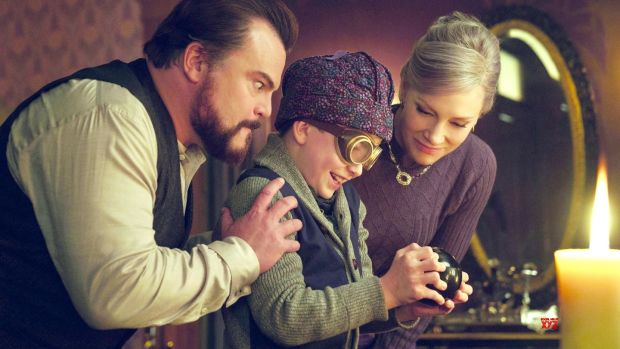 "The House with a Clock in its Wall: ""A mix of Monty Python and Steven Spielberg."" Above, Jack Black, Owen Vaccaro and Cate Blanchett"