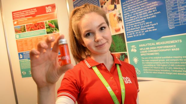 Blanka Novak from Hungary, with her antimicrobial compound from the goji berry, at the European Union Contest for Young Scientists, at the RDS, Dublin. Photograph: Dara Mac Dónaill / The Irish Times
