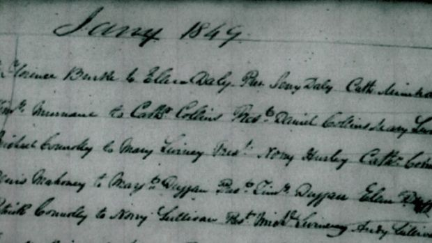 Marriage record from Schull, Co Cork of Florence and Ellen Daly, 1849.