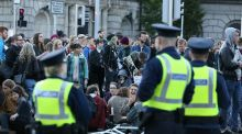 People take part in a sit down protest  following the  eviction from a house at  North Frederick Street, Dublin. Photograph: Brian Lawless/PA