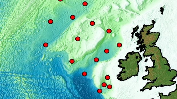 The Marine Institute's research vessel RV Celtic Explorer is due to leave Cork on Tuesday to deploy the 18 seismometers, covering the entire Irish offshore area as well as areas in British and Icelandic waters (above image shows deployment location of 16 or them. One further one is close to the coast of France and another is further north, close to Iceland). Credit: SEA-SEIS