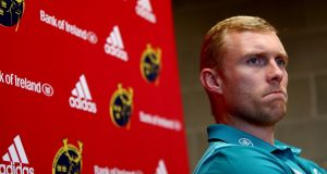 Keith Earls at a Munster press conference at UL, Limerick. Photograph: ©INPHO/Laszlo Geczo