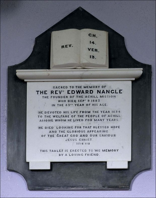 A plaque to Rev Edward Nangle at St Thomas's Church, Dugort