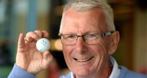 Richard Cloke from Shandon Park Golf Club with his hole-in-one ball at The K Club. Photograph: Cyril Byrne/The Irish  Times
