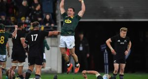 South Africa's Jesse Kriel celebrates victory over New Zealand in Wellington on Saturday. Photograph:  Marty Melville/AFP/Getty Images