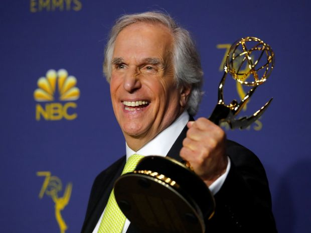 Henry Winkler poses with his Outstanding Supporting Actor in a Comedy Series award for Barry. Photoraph: Mike Blake/Reuters