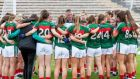 Peter Leahy addresses the Mayo team in Clones for the game against Cavan. Photograph: Morgan Treacy/Inpho
