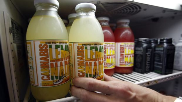 Drug culture: cannabis lemonade in a California store in 2012. Photograph: David McNew/Getty