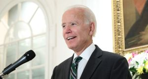 Former US vice-president Joe Biden at a reception for the launch of the Cambridge History of Ireland at the Irish ambassador's residence in Washington on Monday night. Photograph: Marty Katz