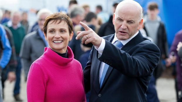 Seán Gallagher and his wife Trish at the first day of the National Ploughing Championships in Screggan, Co Offaly. Photograph: Tom Honan/The Irish Times.
