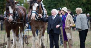President Michael D. Higgins and his wife Sabina are pictured at the  National Ploughing Championships in Screggan, Co Offaly on Tuesday. Photograph: Tom Honan/The Irish Times.