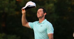 Rory McIlroy celebrates his victory at the final round of the 2016 PGA Tour Championship at East Lake Golf Club in Atlanta. Photograph:  Michael Wade/Icon Sportswire via Getty Images