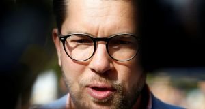 Sweden Democrats leader Jimmie Akesson: while the party has a white supremacist background, mainstream parties might be wise not to exclude them lest they bask as victims of elites. Photograph: Ints Kalnins