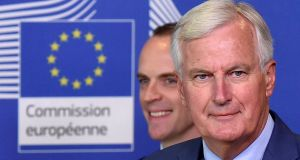 EU chief Brexit negotiator Michel Barnier and (in background) the UK's Brexit minister Dominic Raab. Photograph: Eric Vidal/File Photo/Reuters