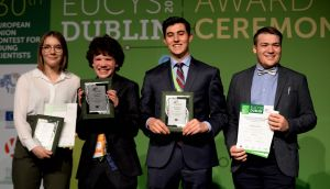 EU  Contest for Young Scientists winners: Anna and Adrian Fleck (both from Germany), Brendan Matusch from Canada and Nicolas Fedrigo also from Canada. Photograph: Cyril Byrne