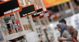 Customers browse goods on display at a B&Q store. Photograph: Rupert Hartley/Bloomberg