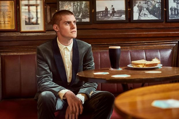 Paul Smith Collection: shawl-collared velvet evening suit with contrast collar and cream embroidered shirt. Photograph: James Mooney