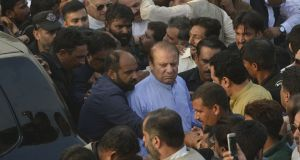 Jailed former Pakistani prime minister Nawaz Sharif arriving to attend the funeral prayer of his late wife Kulsoom Nawaz in Lahore on September 14th.  Photograph:  Arif Ali/AFP/Getty Images