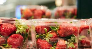 Strawberry punnets in a supermarket in Sydney, Australia. Photograph: Erik Anderson/EPA