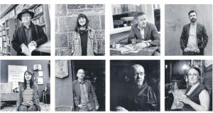 Clockwise from top left: Mike McCormack, Sara Baume, Colin Barrett, Paul McVeigh, Lisa McInerney, Conor O'Callaghan,  Alan McMonagle,   Sally Rooney. Photographs: John Minihan