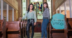 Other Voices presenter MayKay and Westport singer-songwriter Maria Kelly in St Michael's Church in Ballina, Co Mayo. Photograph: Keith Heneghan