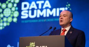 Minister for Communications Denis Naughten at the Data Summit conference, in Croke Park, Dublin. Photograph: Dara Mac Dónaill