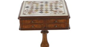 Inlaid chess table at Sheppard's