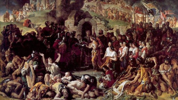Daniel Maclise's masterpiece 'The Marriage of Strongbow and Aoife' in the National Gallery shows tattooed Irish warriors strewn out on the battlefield.