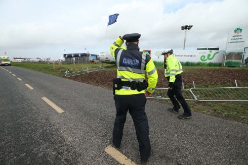 Gardai on duty at the Ploughing Championships in Screggan. Photograph: Robbie Reynolds
