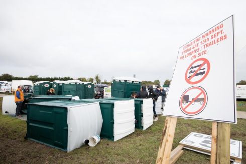A view of damage to portable toilets at the Ploughing Championships. Photograph: Tom Honan for The Irish Times
