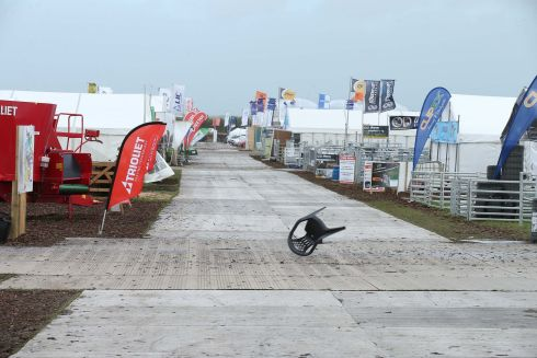 The wind blowing hard at the Ploughing Championships. Photograph: Robbie Reynolds