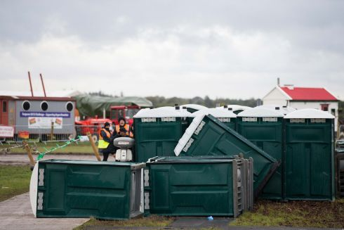 Portable toilets blown over in the high winds at the championships. Photograph: Tom Honan for The Irish Times