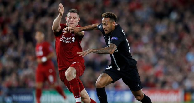 sale retailer 16d1e c4952 Liverpool s James Milner in action with Paris St Germain s Neymar during  Liverpool s 3-2 victory