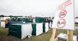 Some of the damage to the portable toilets at the Ploughing Championships in Creggan. Photograph: Tom Honan