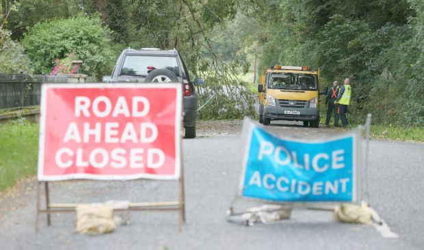 A road that was closed after an incident at Slieve Gullion forest park near Newry, Co Down. Photograph: 