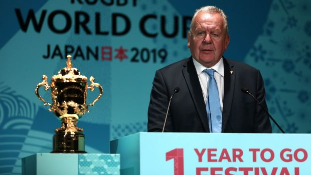 World Rugby Chairman Bill Beaumont with the Webb Ellis Cup a year ahead of of the 2019 World Cup. Photograph: Behrouz Mehri/AFP/Getty