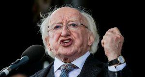President Michael D Higgins at the  National Ploughing Championship in Tullamore, Co Offaly. Photograph: Liam McBurney/PA