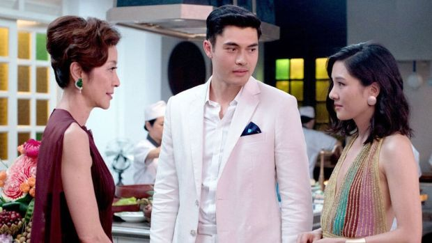 Michelle Yeoh, Henry Goulding and Constance Wu in Crazy Rich Asians