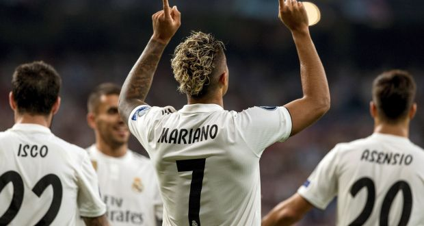 6cd936848ab Real Madrid s Mariano after scoring against Roma at the Santiago Bernabeu.  Photograph  PA