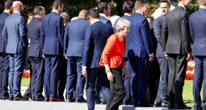 Back of the line: UK prime minister Theresa May in Salzburg, Austria. Photograph: Leonhard Foeger/Reuters