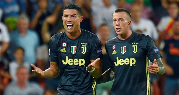 93dec526e85 Cristiano Ronaldo reacts after receiving a red card during Juventus s Uefa Champions  League Group H match