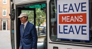 Nigel Farage, one of Brexit's main drivers, pictured on a campaign bus this week. Deloitte says Budget 2019 should be used to 'Brexit-proof' the economy. Photograph: Getty Images