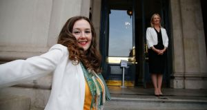 File photograph showing  Sarah Louise Mulligan (foreground) and fellow presidential hopeful Gemma O'Doherty.  Photograph: Nick Bradshaw