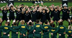New Zealand players perform a haka during the Rugby Championship match between the All Blacks and the  Springboks at Westpac Stadium  in Wellington, New Zealand, last weekend. Photograph: Hagen Hopkins/Getty Images